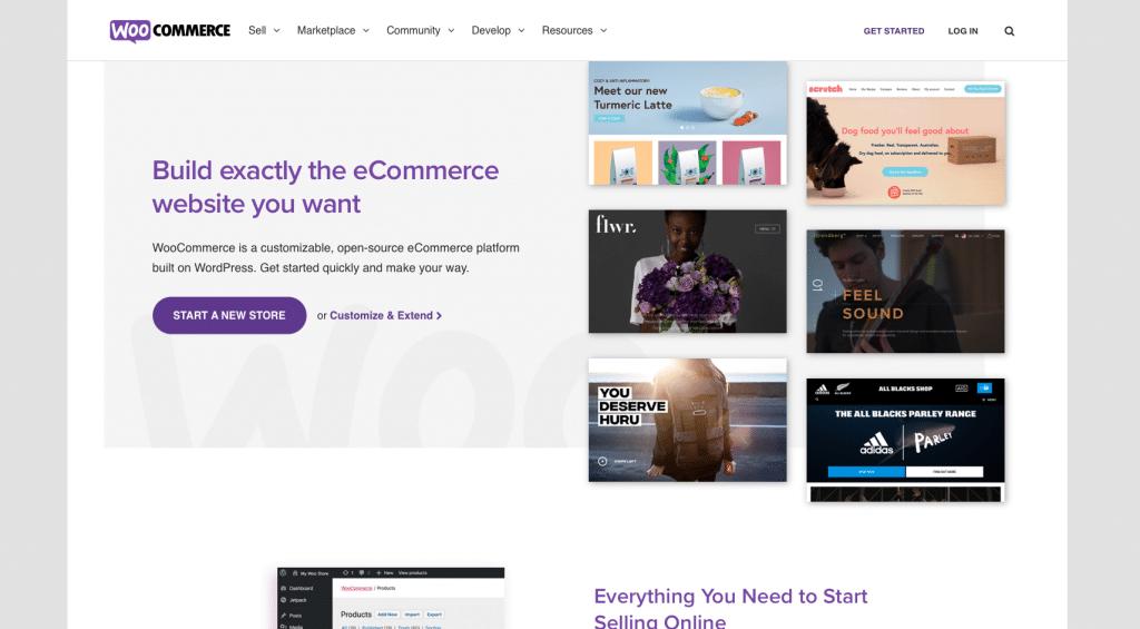 Homepage van de officiële website van WooCommerce